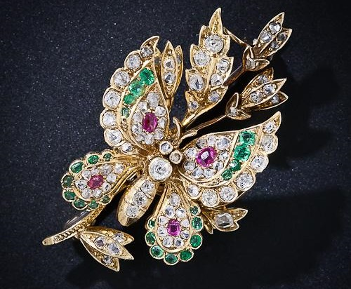Victorian Butterfly brooch, diamonds, emeralds, Rubies