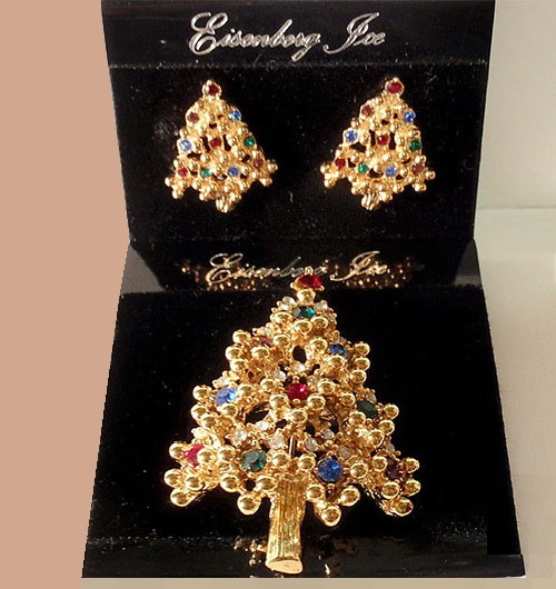 Vintage Christmas set - brooch and clips by Eisenberg Ice