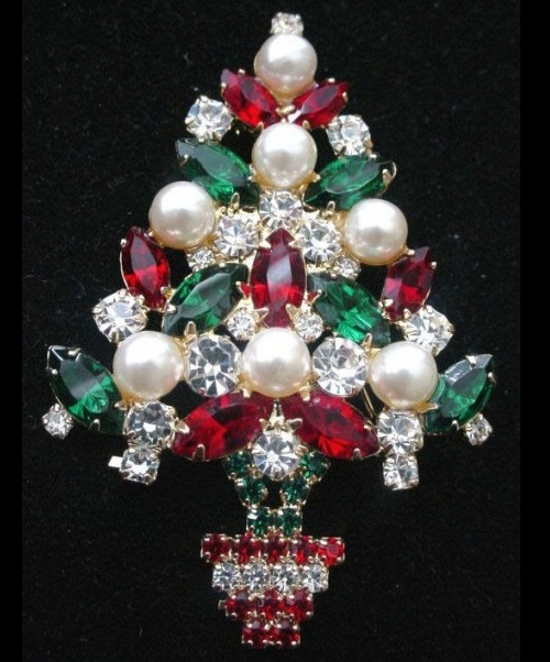 Vintage Christmas tree brooch by Eisenberg Ice