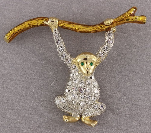 Vintage brooch Monkey