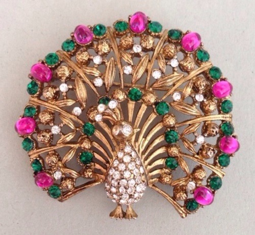 Vintage brooch Peacock by Lisner