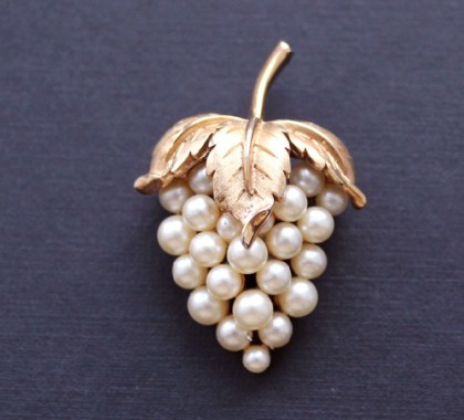 Galina Karputina collection. Pearl berries elegant, authentic brooch 1960