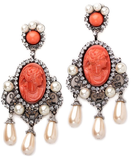 Vintage clips with coral cameos. Larry Vrba jewelry