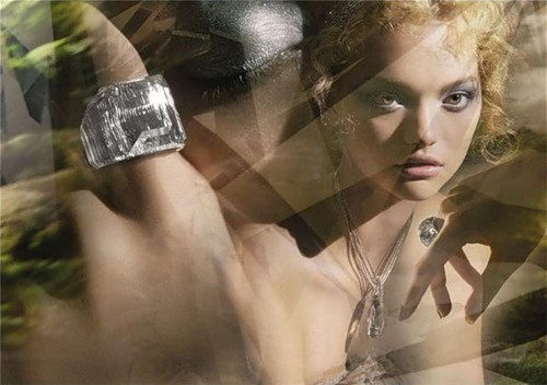 Vogue December 2008. Sasha Pivovarova Swarovski Jewelry