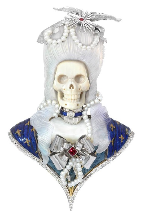 one of a kind brooch which pays homage to the notorious French queen Marie Antoinette