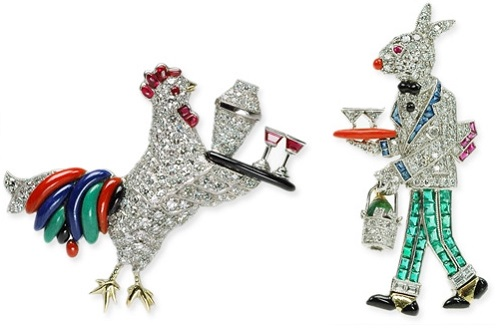 Raymond Yard iconic designs of Rooster-waiter and a Rabbit. The first pieces of the collection were made in the late 1920