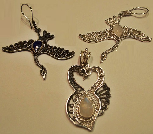 set with moonstone and lapis lazuli silver 'Love Story', in the technique of filigree