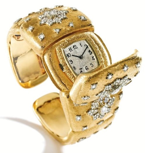 18 Karat Two-Color Gold and Diamond Bracelet-Watch, Buccellati