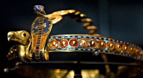 Ancient Egyptian gold diadem decorated with symbols of royal power