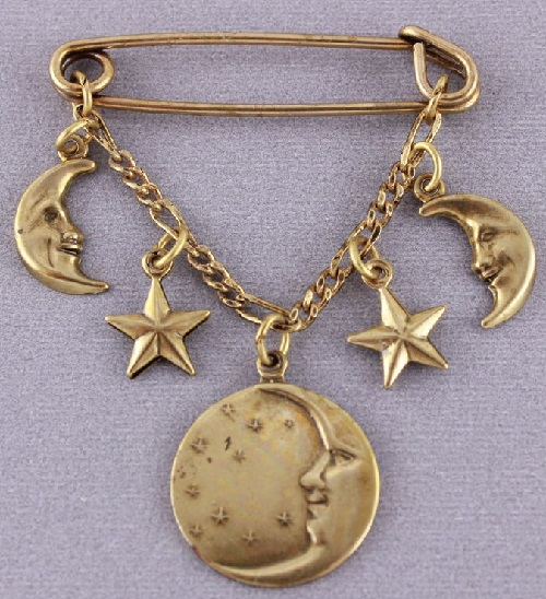 Banana Bob vintage brooch-pin Moon and stars