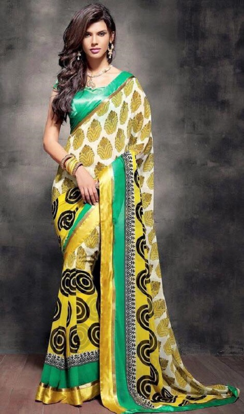 Brazilian model Gabriela Bertante wearing traditional Indian dress - sari