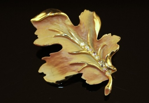 Brooch Autumn Leaf by BSK