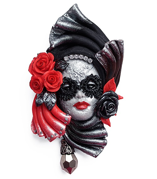 Brooch Venetian mask - Black and white. Ornament handmade from polymer clay