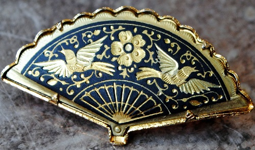 Brooch-fan made in the technology of Damascene. Spain, Toledo. Vintage