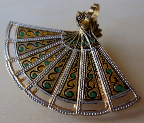 Brooch-fan made in the technology of Damascene. Spain, Vintage