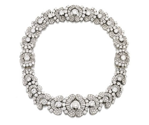 Bulgari necklace, platinum, diamonds, 1954