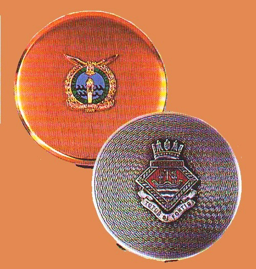 Compacts with the emblems of the royal air force 1970-1980, and the Navy 1939, England