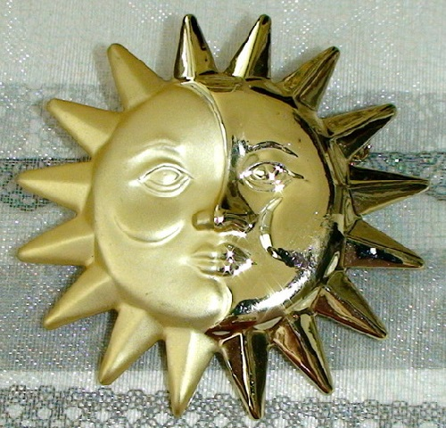 Danecraft vintage brooch Sun and Moon