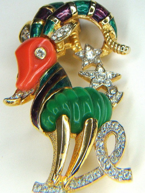 DeNicola costume jewellery - brooch from the series of Chinese zodiac, the year of goat