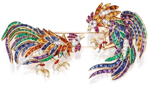 Dueling roosters, 18k Gold, Platinum, Colored Stone, Enamel and Diamond Jabot