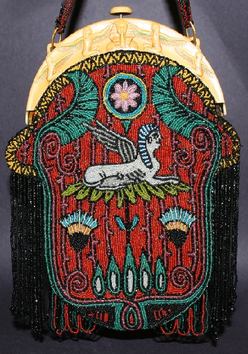 Egyptian motif embroidered handbag