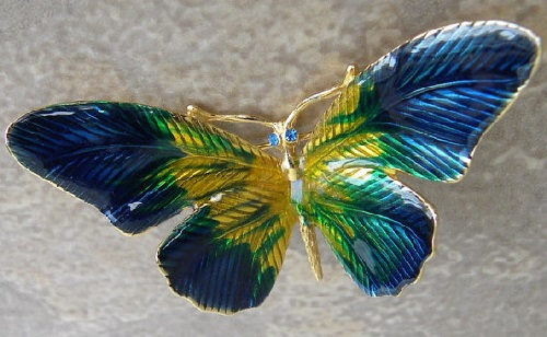 Erwin Pearl lovely vintage brooch-pin, blue, green and yellow enamel, blue crystal rhinestone