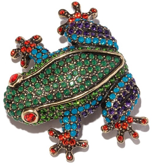 Fabulous frog brooch, crystals - Hyacinth, Caribbean blue opal, palace green opal, tanzanite, purple velvet and fern green-color crystal