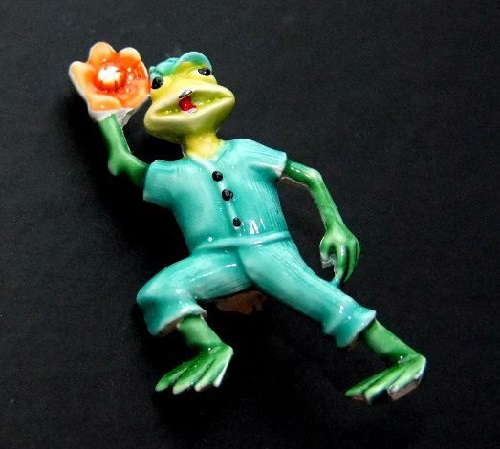 Frog - Baseball player vintage brooch, 1960s, USA