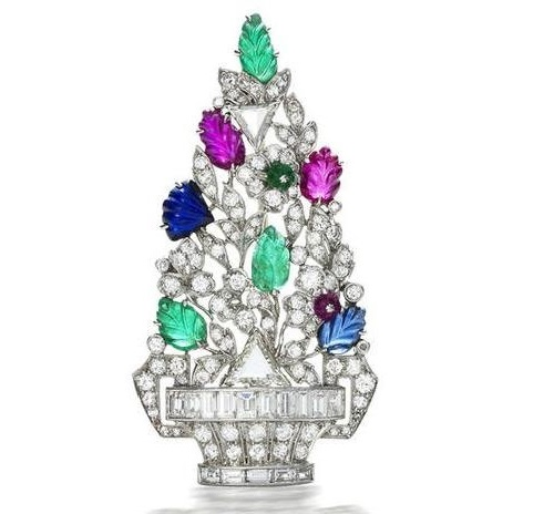 Fur tree vintage brooch 'tutti frutti', Cartier, 1930. diamonds, precious stones