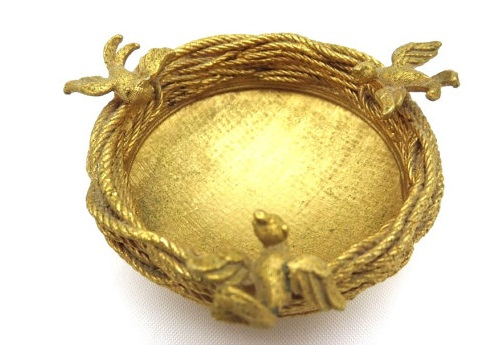 Gold Bird Nest Bowl - Trinket Dish by Cadoro
