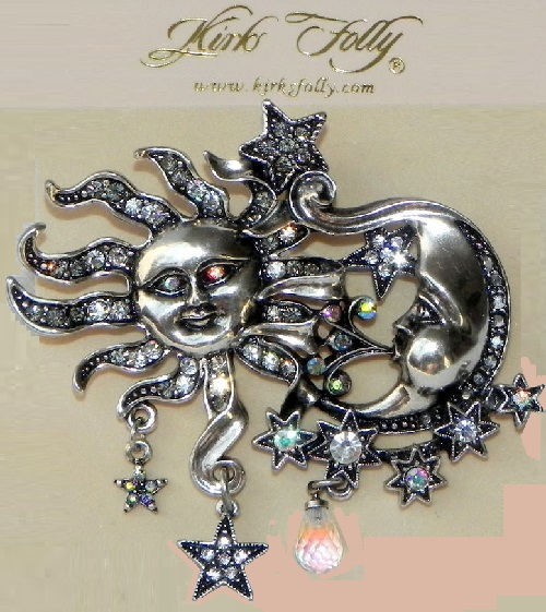 Kirks Folly brooch Sun and Moon