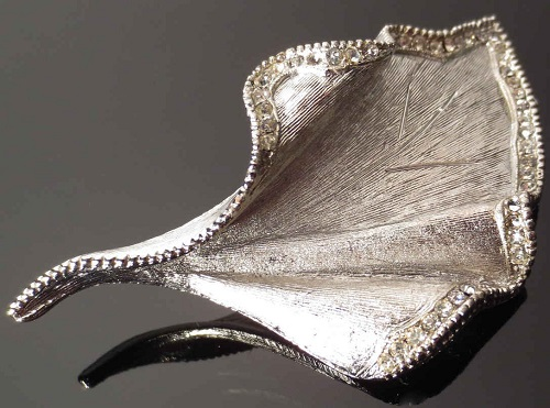Large vintage brooch in the form of a leaf by the company BSK