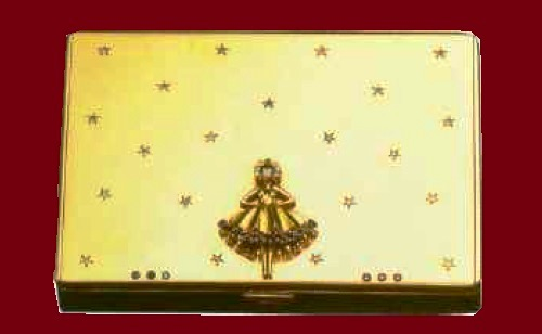 Powder box in gold with precious stones. Van Cleef and Arpels. 1945. New York. Application in the form of figurine of ballerina, rose cut diamonds and sapphires