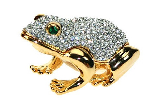 Precious Frog of gold decorated with Swarovski crystals