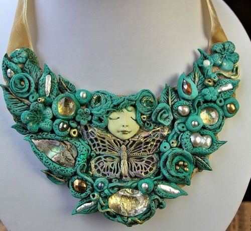 Queen on butterflies, unique necklace by Maria Brik