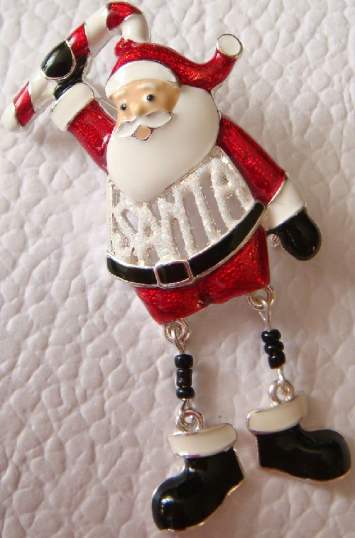 Santa Claus, vintage brooch of 1980s, USA