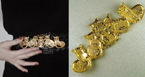 Spectacular vintage buckle from Mimi Di Niscemi. The alloy coated with a gold well detailed buckle