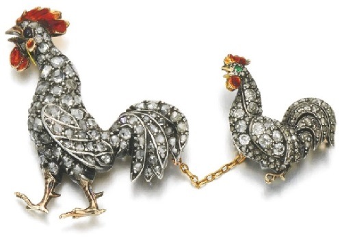 Two gem set, enamel and diamond cockerel brooches, late 19th century