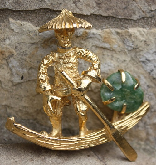 BSK vintage jewellery - Brooch Boatman