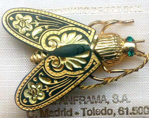 Vintage Brooch 'Fly' made in the technique of Damasce, Toledo, Spainne