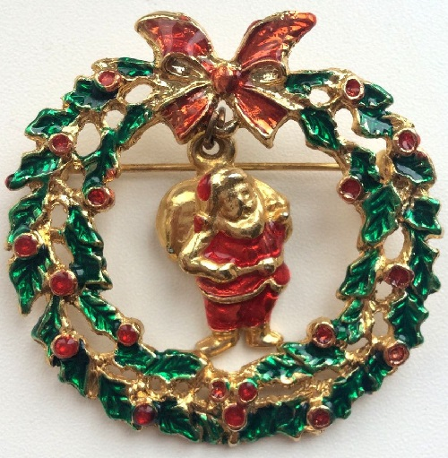 Vintage Brooch 'Santa with gifts' made of alloy jewelry, gold-plated tone, decorated with colored enamels