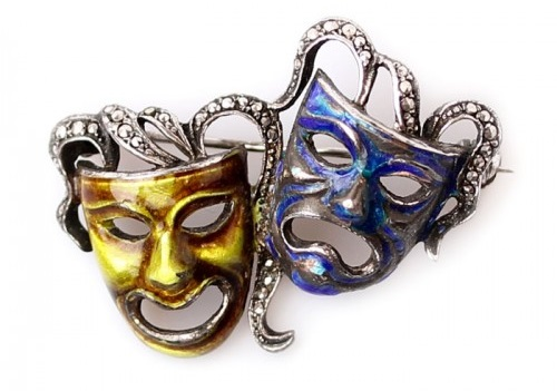 Vintage Casual brooch in the form of two masks - comedy and tragedy