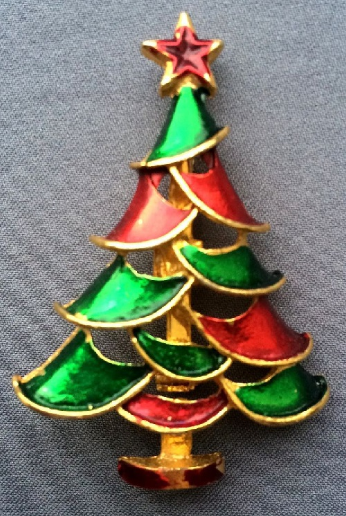Vintage Christmas Tree brooch, USA