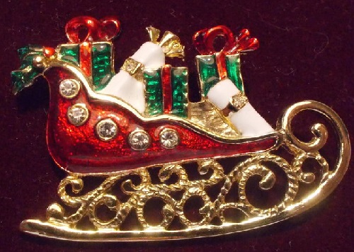 Vintage Enameled Brooch Christmas