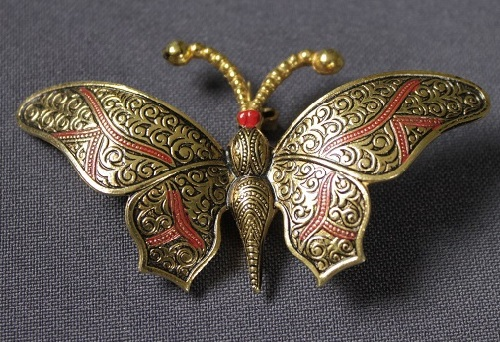 Vintage brooch - Butterfly made in technique Damascene. Production Spain, marked SPAIN. 1980s