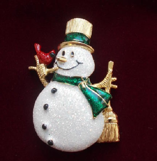 Vintage brooch Christmas Snowman Glitter USA 1980s