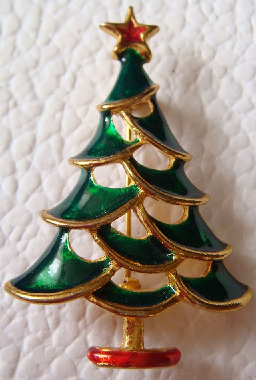 Vintage brooch Christmas Tree, unmarked, USA