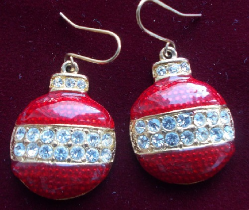 Vintage earrings Christmas balls. Enamel, Rhinestones, US