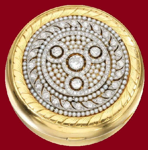 1949 Van Cleef & Arpels Gold and diamond compact, sold at auction Sotheby's 12th November 1987