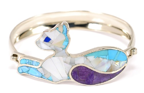 Bracelet Cat with charoite tail, turquoise, charoite, Ocean Pearl, cat's eyes - of lapis lazuli. Metal rim Nickel Silver